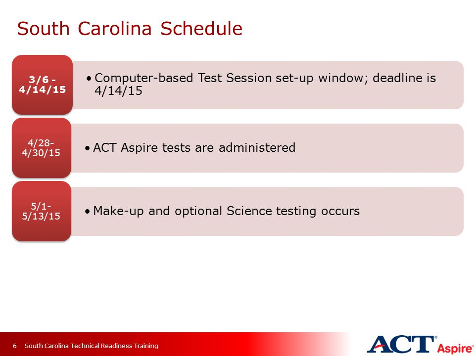 South Carolina Schedule Computer-based Test Session set-up window; deadline is 4/14/15 3/6 - 4/14/15 ACT Aspire tests are administered 4/28- 4/30/15 Make-up and optional Science testing occurs 5/1- 5/13/15 South Carolina Technical Readiness Training6