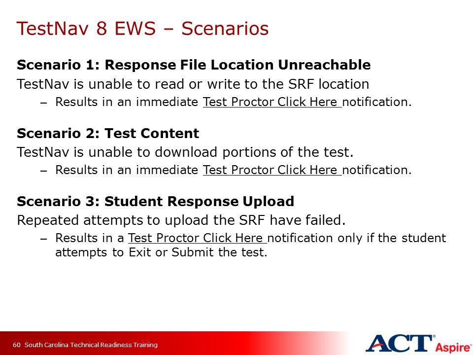 TestNav 8 EWS – Scenarios Scenario 1: Response File Location Unreachable TestNav is unable to read or write to the SRF location – Results in an immediate Test Proctor Click Here notification.