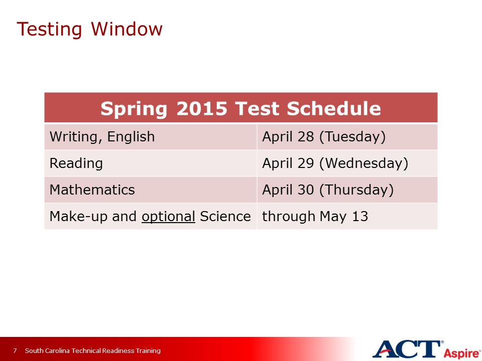 Testing Window South Carolina Technical Readiness Training7 Spring 2015 Test Schedule Writing, EnglishApril 28 (Tuesday) ReadingApril 29 (Wednesday) MathematicsApril 30 (Thursday) Make-up and optional Sciencethrough May 13