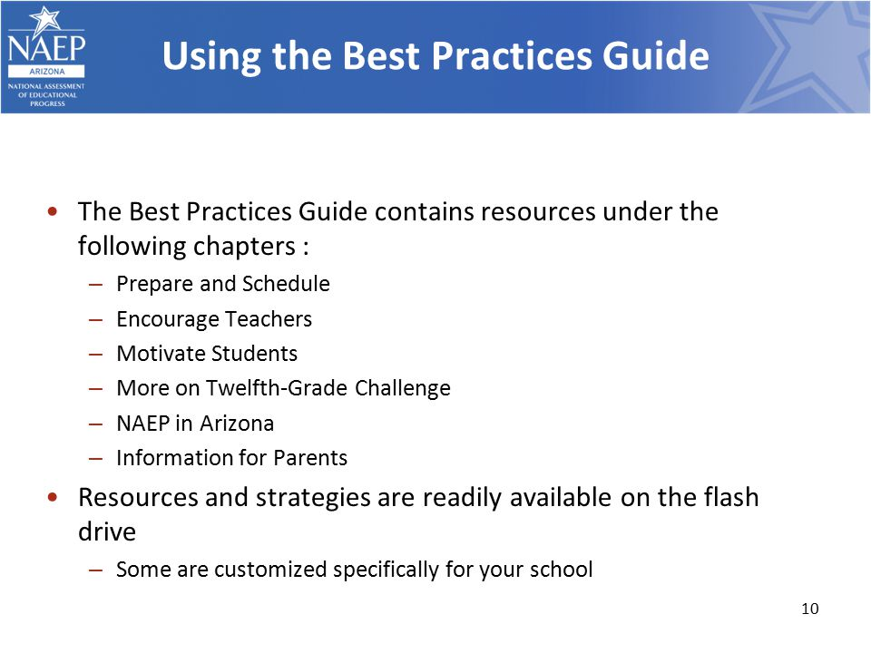 Using the Best Practices Guide The Best Practices Guide contains resources under the following chapters : – Prepare and Schedule – Encourage Teachers – Motivate Students – More on Twelfth-Grade Challenge – NAEP in Arizona – Information for Parents Resources and strategies are readily available on the flash drive – Some are customized specifically for your school 10