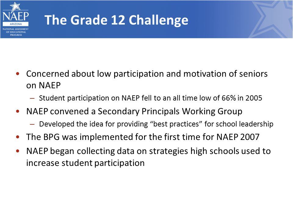 The Grade 12 Challenge Concerned about low participation and motivation of seniors on NAEP – Student participation on NAEP fell to an all time low of 66% in 2005 NAEP convened a Secondary Principals Working Group – Developed the idea for providing best practices for school leadership The BPG was implemented for the first time for NAEP 2007 NAEP began collecting data on strategies high schools used to increase student participation