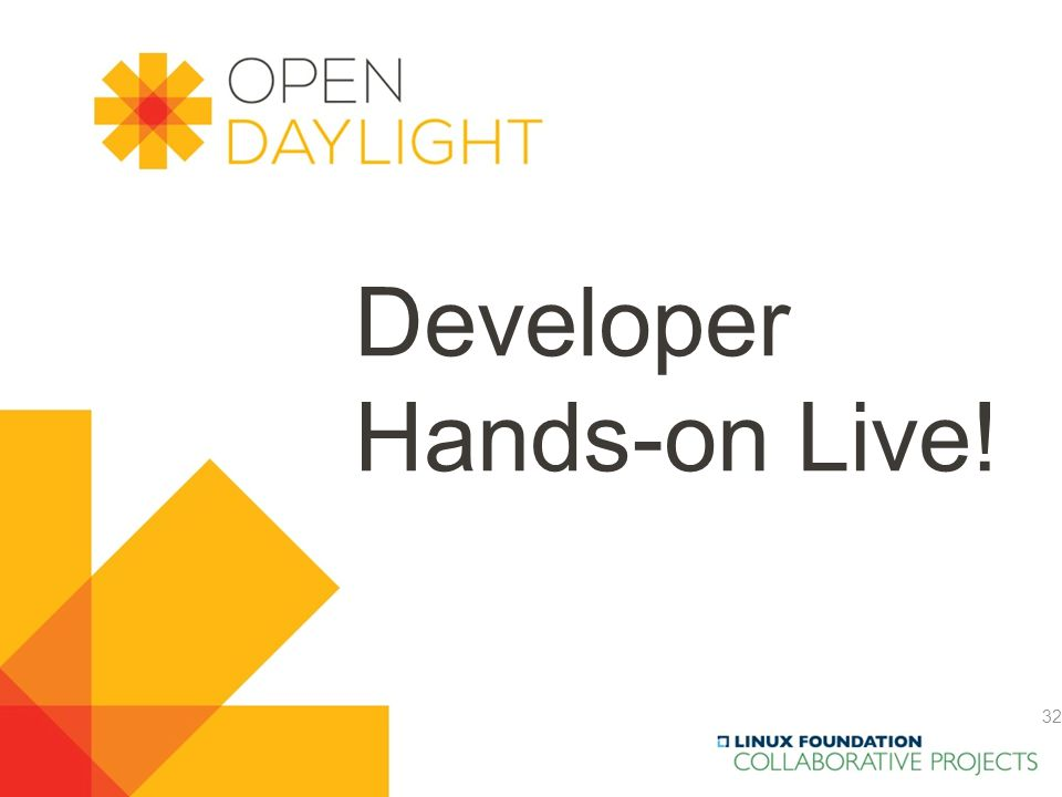 Created by Jan Medved www.opendaylight.org Developer Hands-on Live! 32