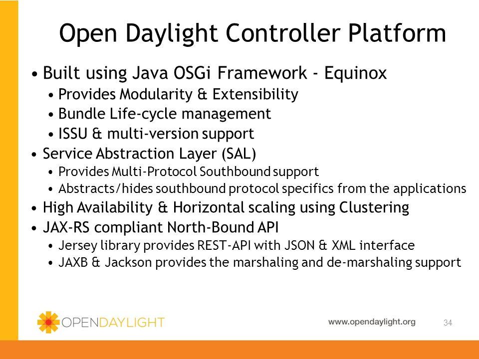 Created by Jan Medved www.opendaylight.org 34 Open Daylight Controller Platform Built using Java OSGi Framework - Equinox Provides Modularity & Extens