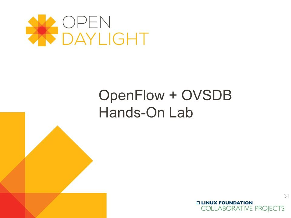 Created by Jan Medved www.opendaylight.org OpenFlow + OVSDB Hands-On Lab 31