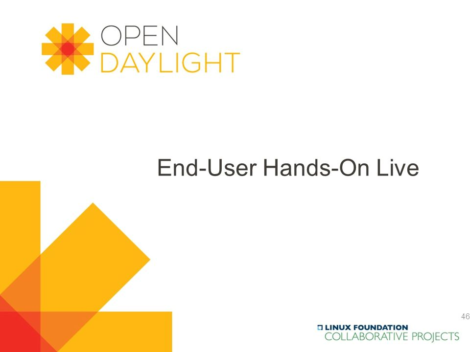 Created by Jan Medved www.opendaylight.org End-User Hands-On Live 46