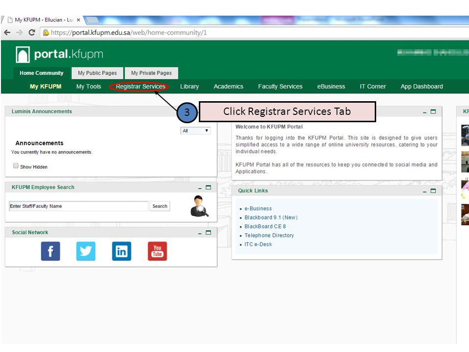 3 Click Registrar Services Tab
