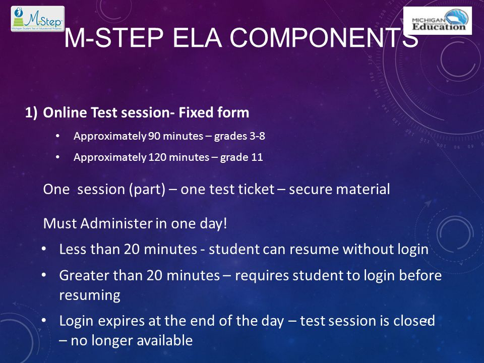 M-STEP ELA COMPONENTS 1)Online Test session- Fixed form Approximately 90 minutes – grades 3-8 Approximately 120 minutes – grade 11 One session (part)