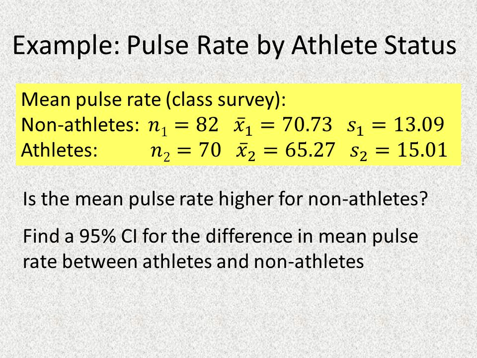 Example: Pulse Rate by Athlete Status Is the mean pulse rate higher for non-athletes.