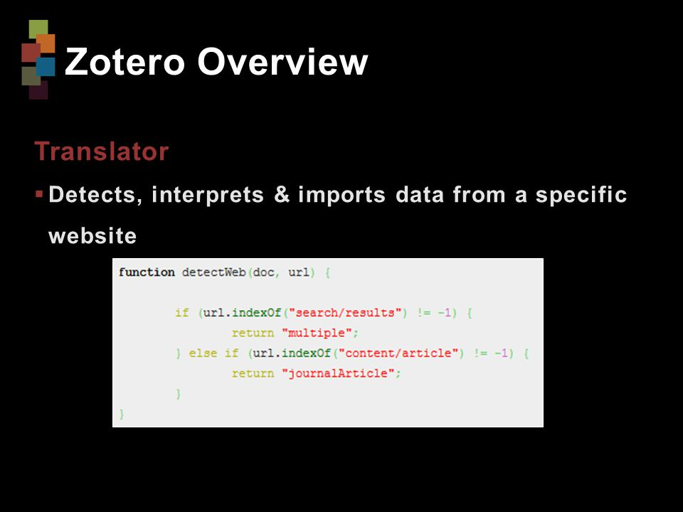 Zotero Overview Translator  Detects, interprets & imports data from a specific website