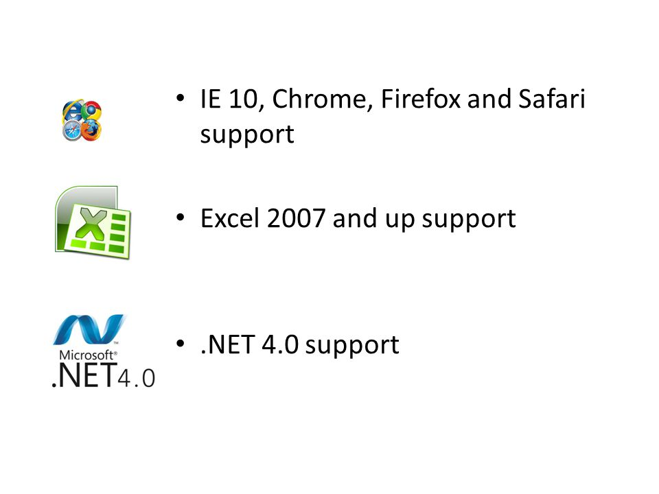 IE 10, Chrome, Firefox and Safari support Excel 2007 and up support.NET 4.0 support