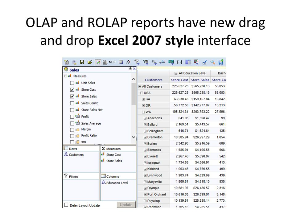 OLAP and ROLAP reports have new drag and drop Excel 2007 style interface