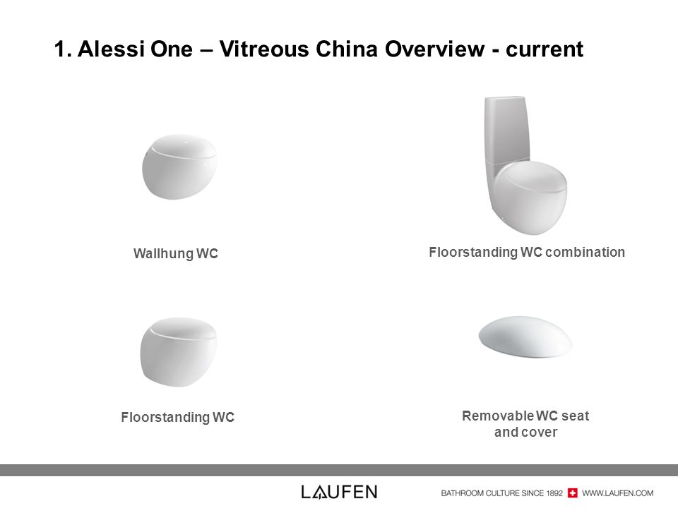 1. Alessi One – Vitreous China Overview - current Wallhung WC Removable WC seat and cover Floorstanding WC Floorstanding WC combination