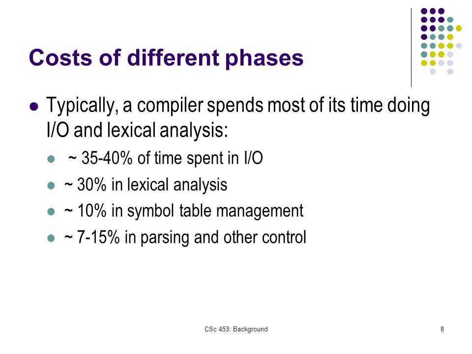 CSc 453: Background8 Costs of different phases Typically, a compiler spends most of its time doing I/O and lexical analysis: ~ 35-40% of time spent in I/O ~ 30% in lexical analysis ~ 10% in symbol table management ~ 7-15% in parsing and other control
