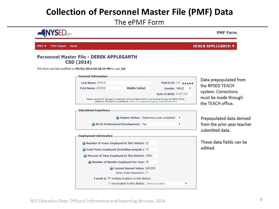 Collection of Personnel Master File (PMF) Data The ePMF Form NYS Education Dept.