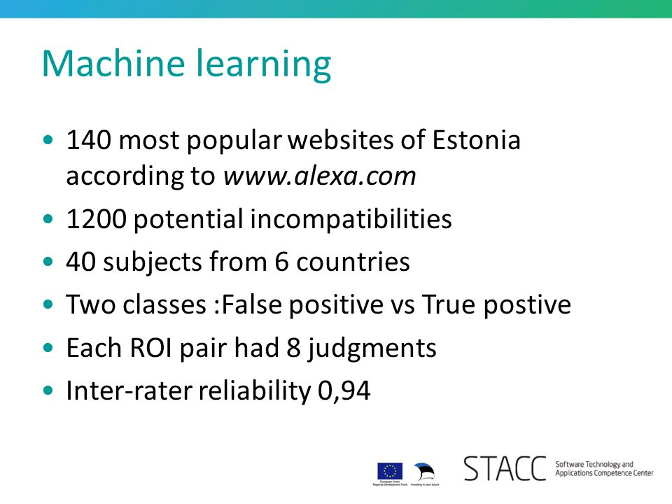 Machine learning 140 most popular websites of Estonia according to www.alexa.com 1200 potential incompatibilities 40 subjects from 6 countries Two cla