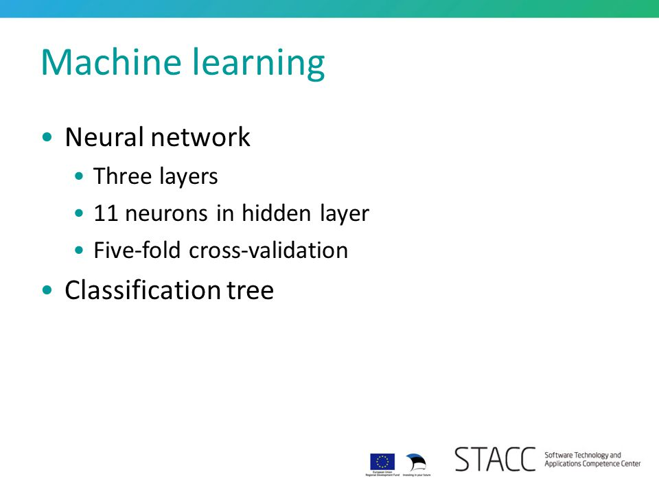 Machine learning Neural network Three layers 11 neurons in hidden layer Five-fold cross-validation Classification tree