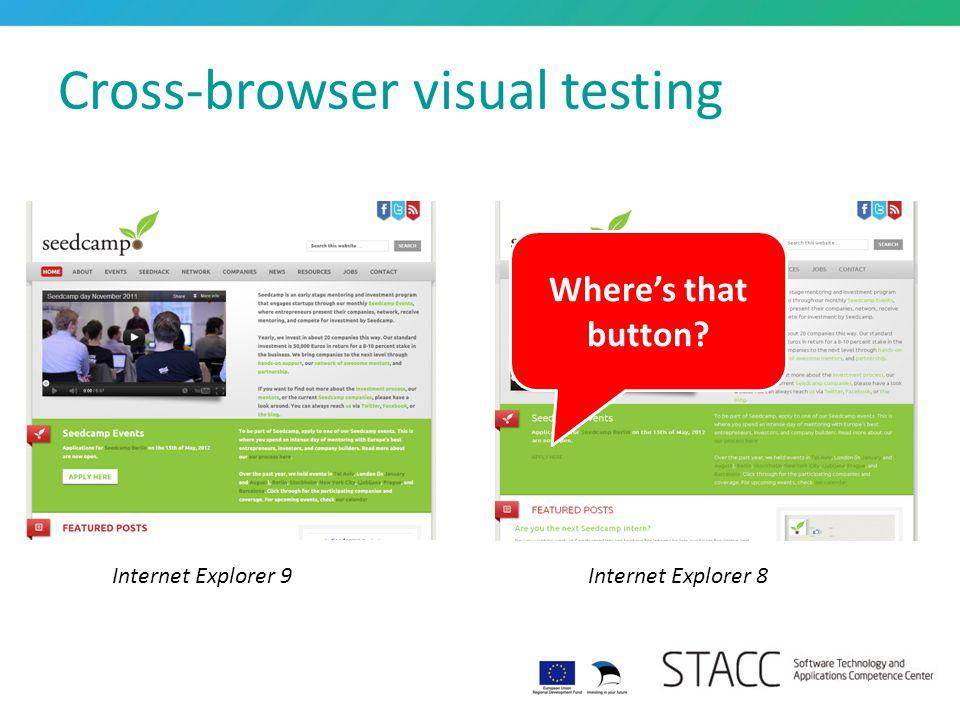 Cross-browser visual testing Internet Explorer 9Internet Explorer 8 Where's that button?