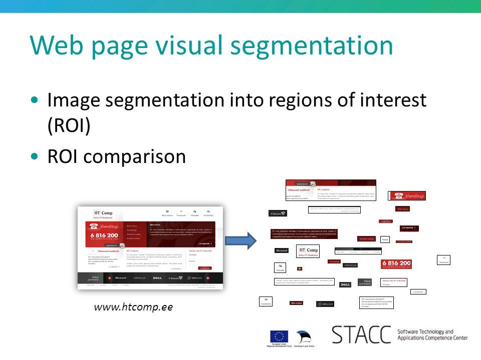Web page visual segmentation Image segmentation into regions of interest (ROI) ROI comparison www.htcomp.ee