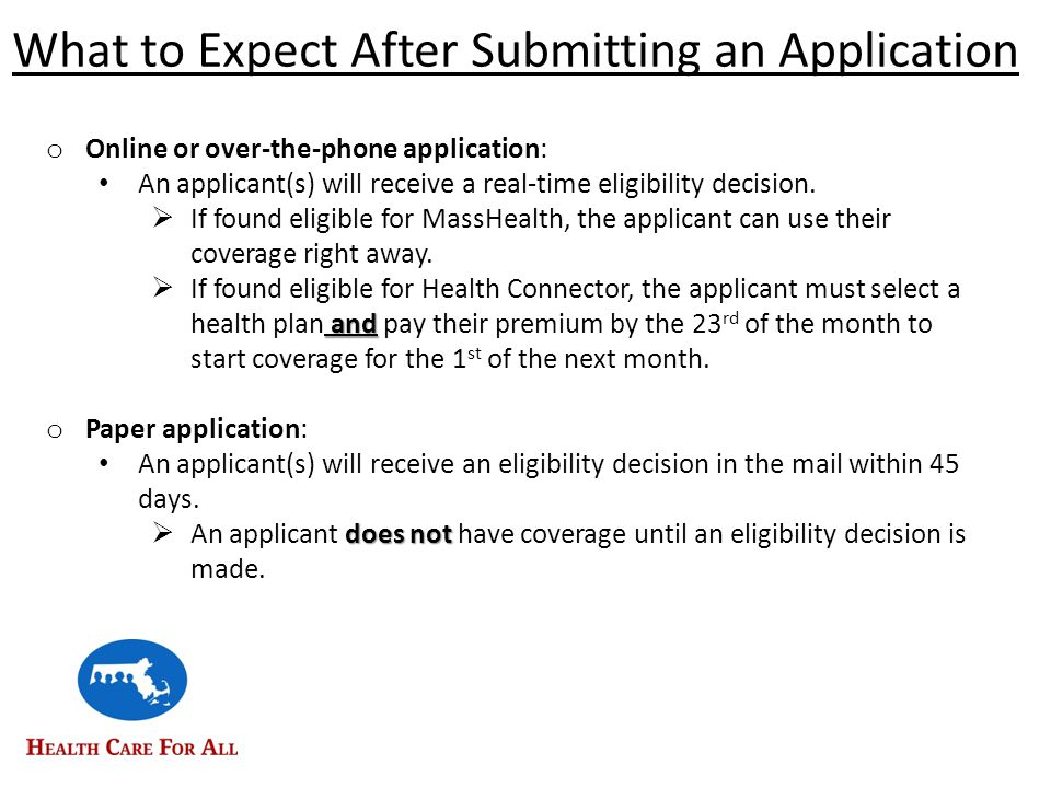 What to Expect After Submitting an Application o Online or over-the-phone application: An applicant(s) will receive a real-time eligibility decision.