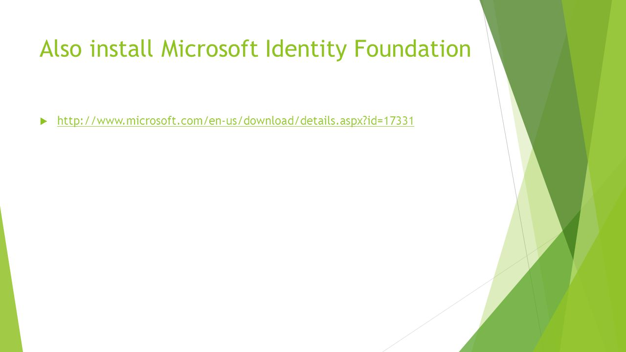 Also install Microsoft Identity Foundation  http://www.microsoft.com/en-us/download/details.aspx id=17331 http://www.microsoft.com/en-us/download/details.aspx id=17331