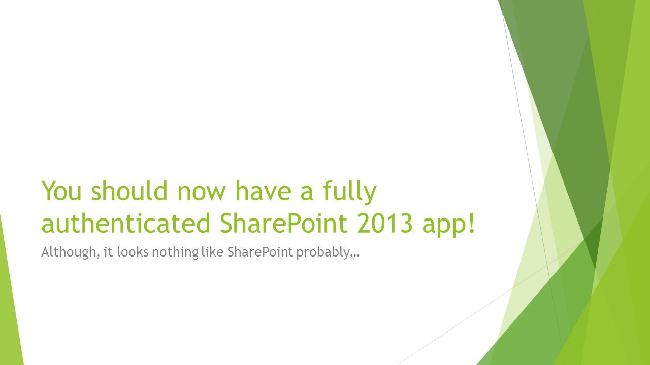 You should now have a fully authenticated SharePoint 2013 app! Although, it looks nothing like SharePoint probably…
