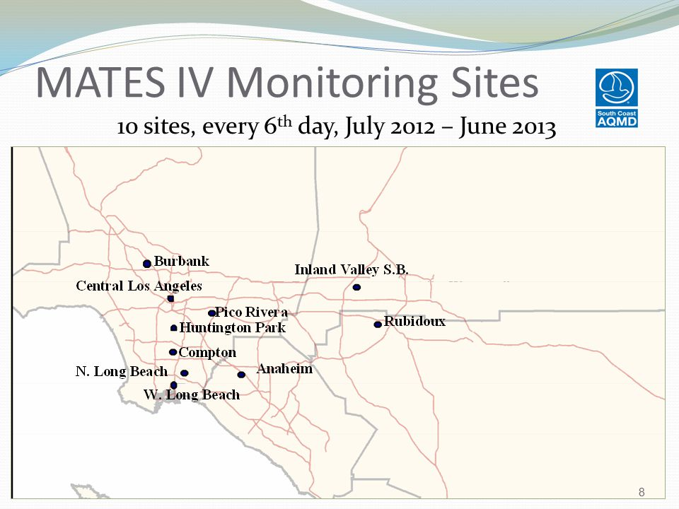 MATES IV Monitoring Sites 10 sites, every 6 th day, July 2012 – June 2013 8
