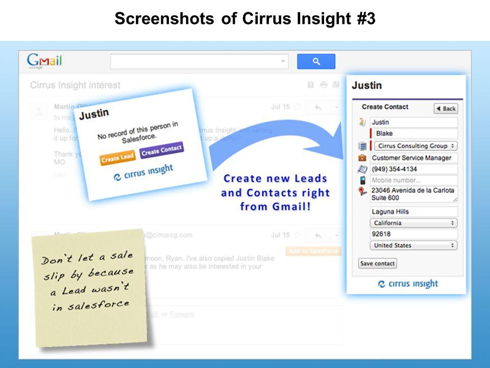 Screenshots of Cirrus Insight #3