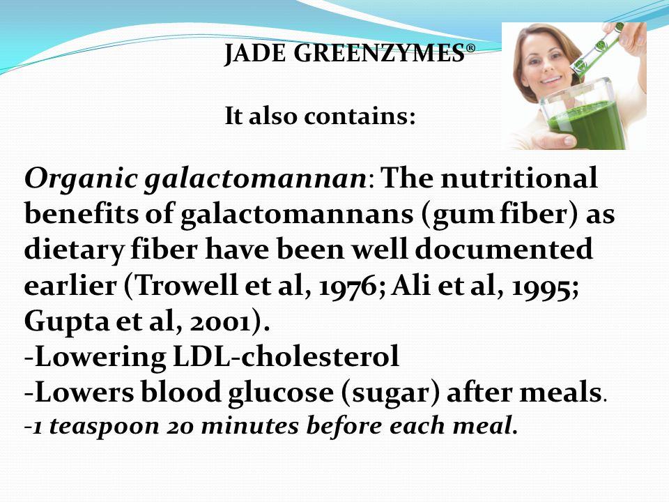 Organic galactomannan: The nutritional benefits of galactomannans (gum fiber) as dietary fiber have been well documented earlier (Trowell et al, 1976;