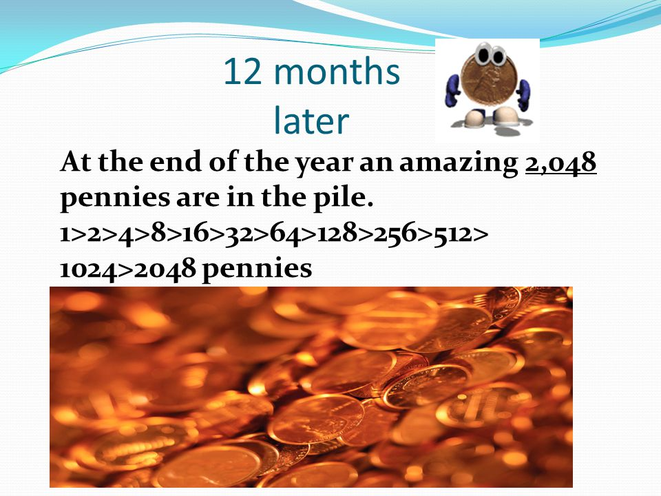 12 months later At the end of the year an amazing 2,048 pennies are in the pile. 1>2>4>8>16>32>64>128>256>512> 1024>2048 pennies