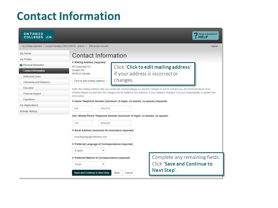 Contact Information Complete any remaining fields.