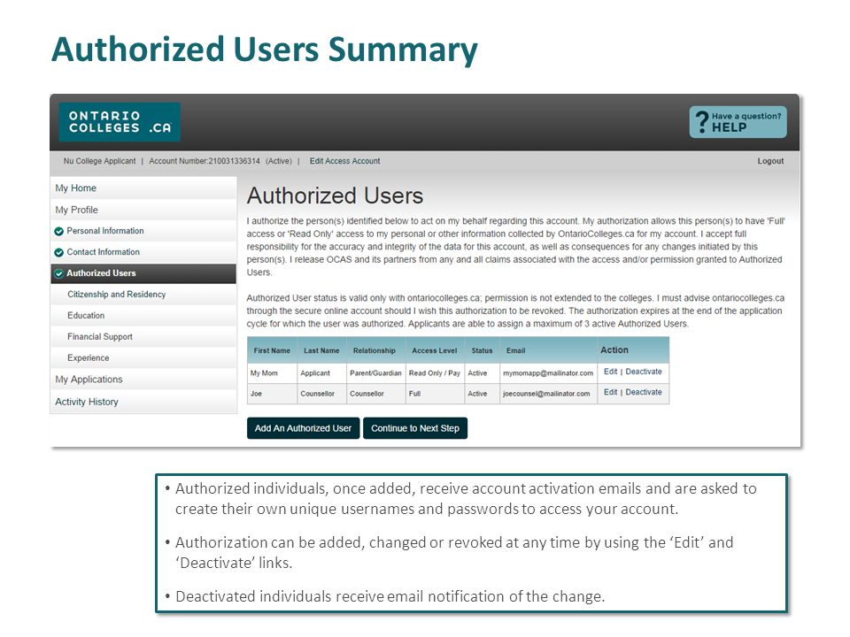 Authorized Users Summary Authorized individuals, once added, receive account activation emails and are asked to create their own unique usernames and passwords to access your account.