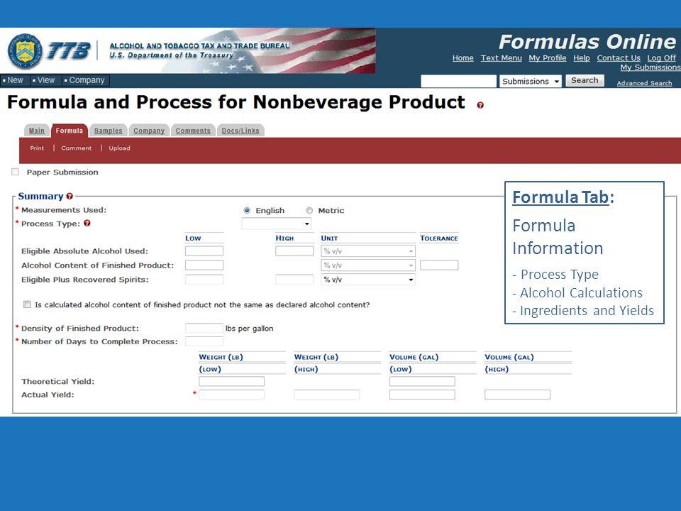 Formula Tab: Formula Information - Process Type - Alcohol Calculations - Ingredients and Yields