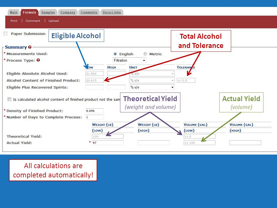 Eligible Alcohol Total Alcohol and Tolerance Theoretical Yield (weight and volume) Actual Yield (volume) All calculations are completed automatically!