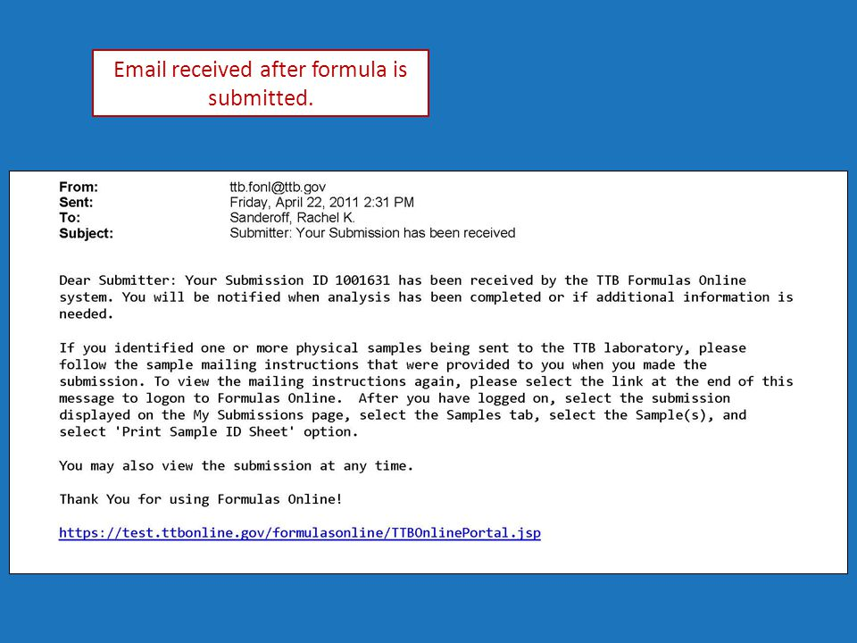 Email received after formula is submitted.