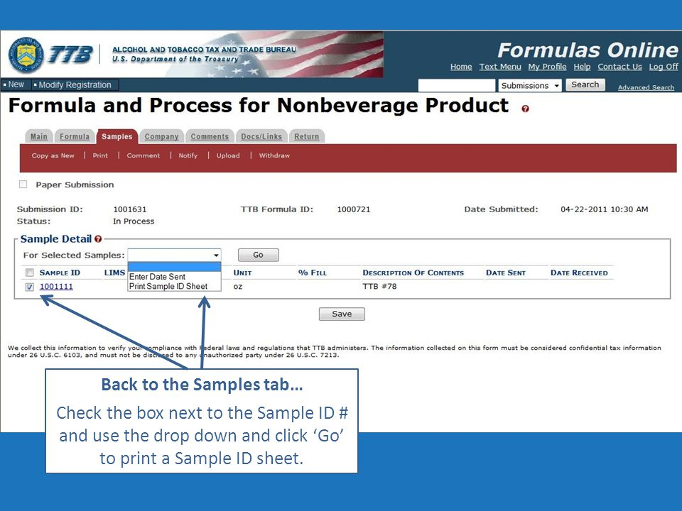 Back to the Samples tab… Check the box next to the Sample ID # and use the drop down and click 'Go' to print a Sample ID sheet.