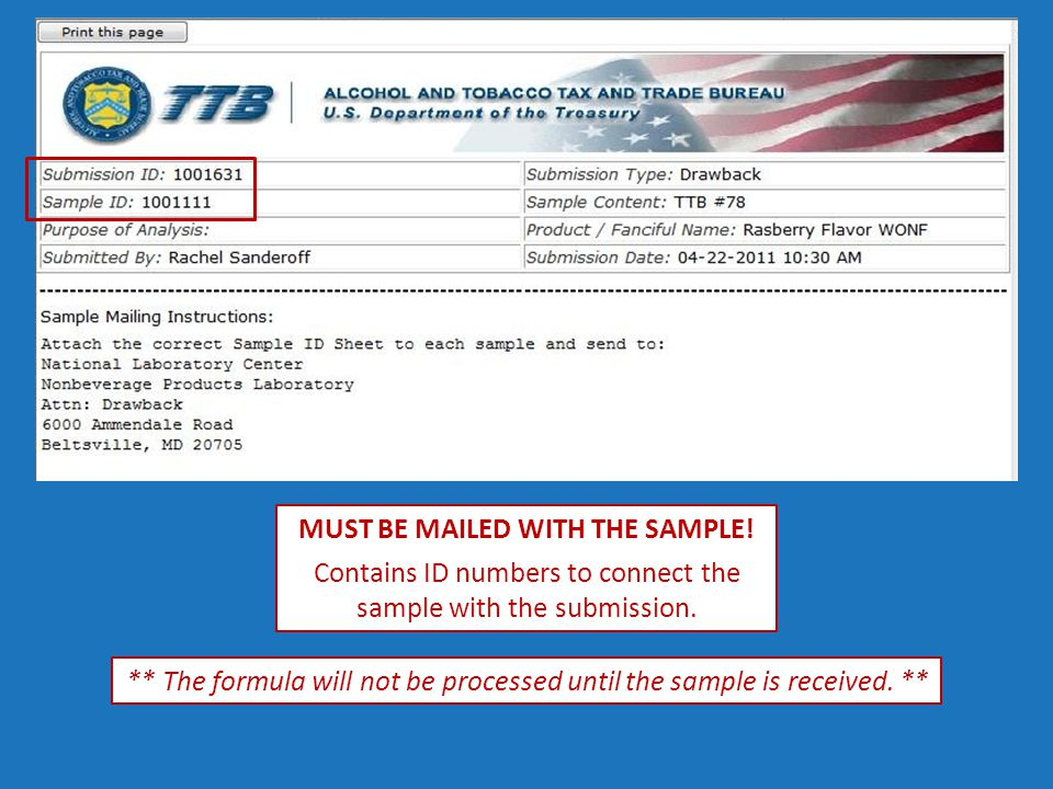 MUST BE MAILED WITH THE SAMPLE. Contains ID numbers to connect the sample with the submission.