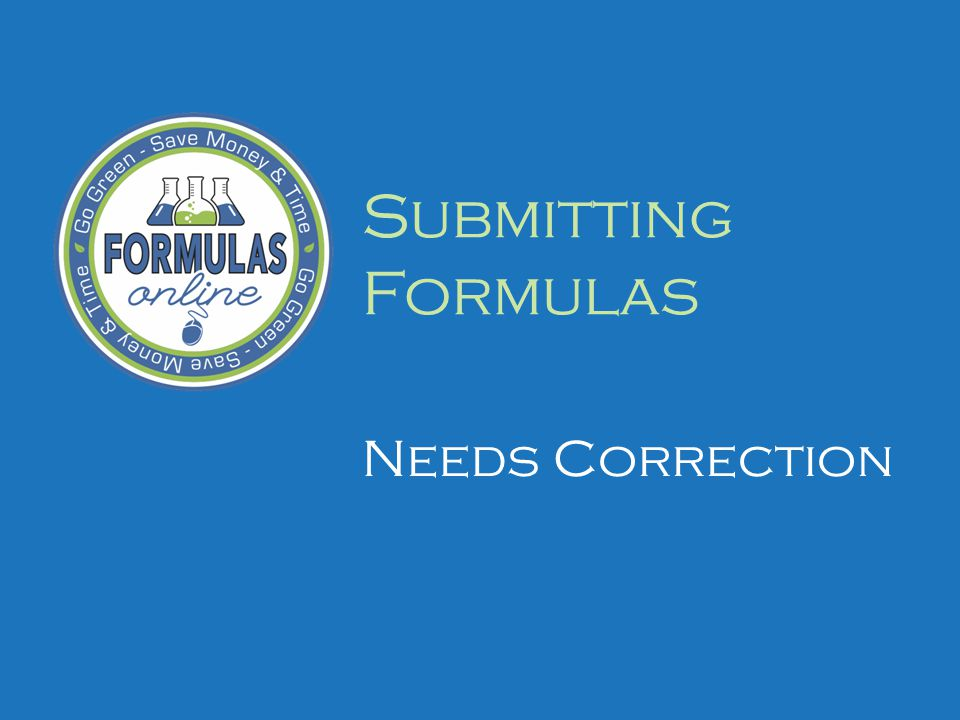 Submitting Formulas Needs Correction