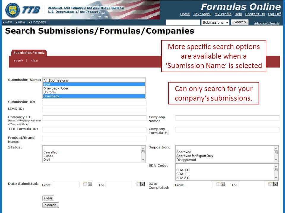 More specific search options are available when a 'Submission Name' is selected Can only search for your company's submissions.