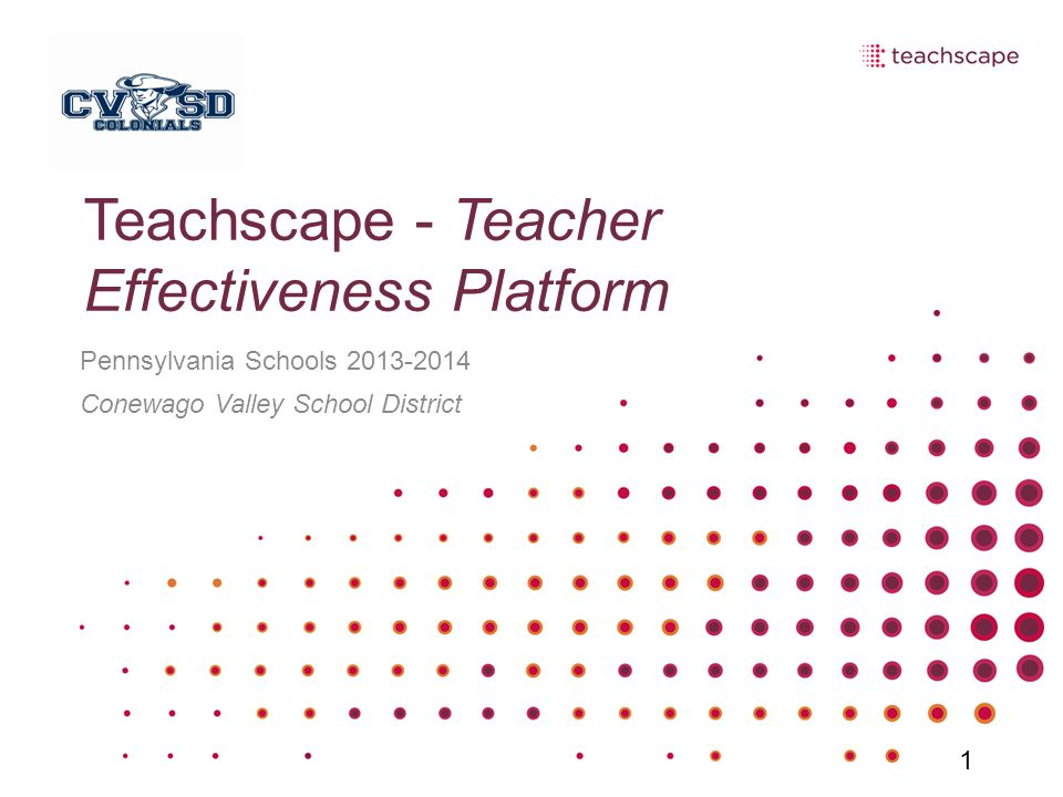 Teachscape - Teacher Effectiveness Platform Pennsylvania Schools 2013-2014 Conewago Valley School District 1