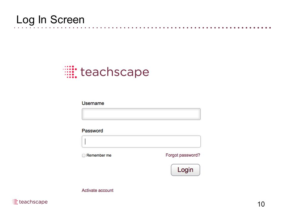 Log In Screen 10