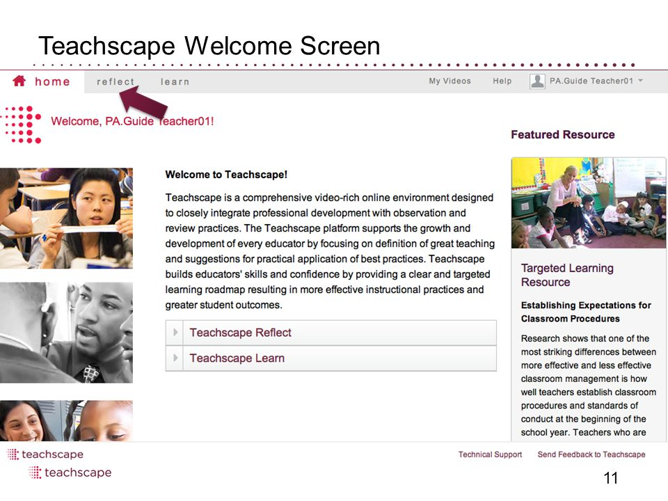 Teachscape Welcome Screen 11