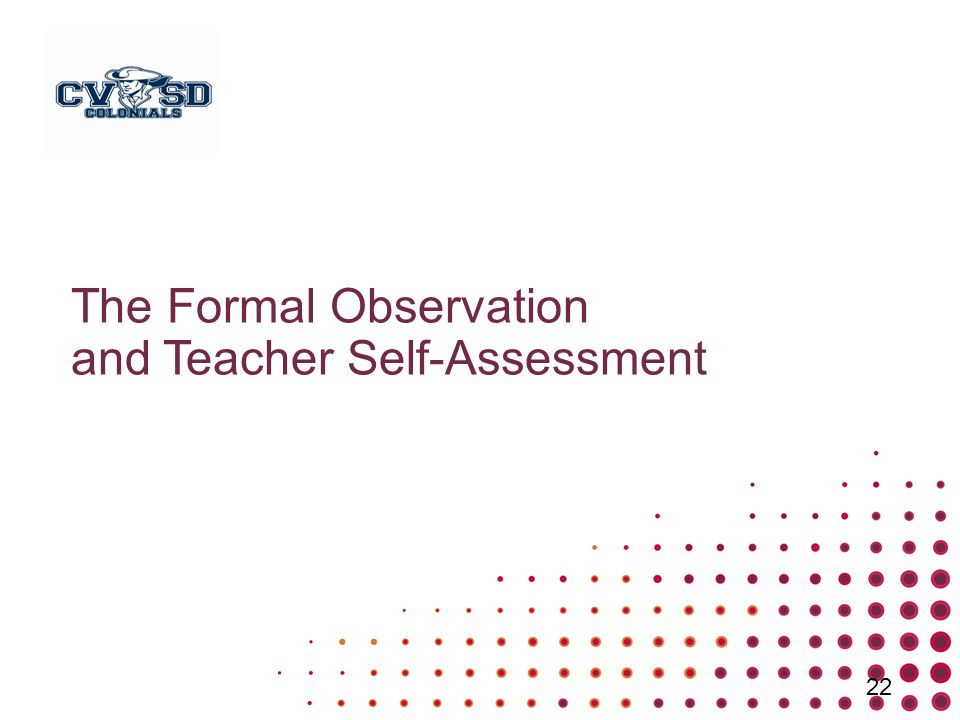 The Formal Observation and Teacher Self-Assessment 22