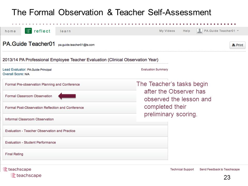 The Formal Observation & Teacher Self-Assessment 23 The Teacher's tasks begin after the Observer has observed the lesson and completed their preliminary scoring.