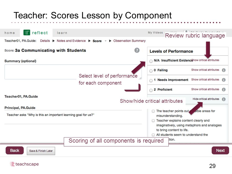Teacher: Scores Lesson by Component 29 Select level of performance for each component Show/hide critical attributes Review rubric language Scoring of all components is required