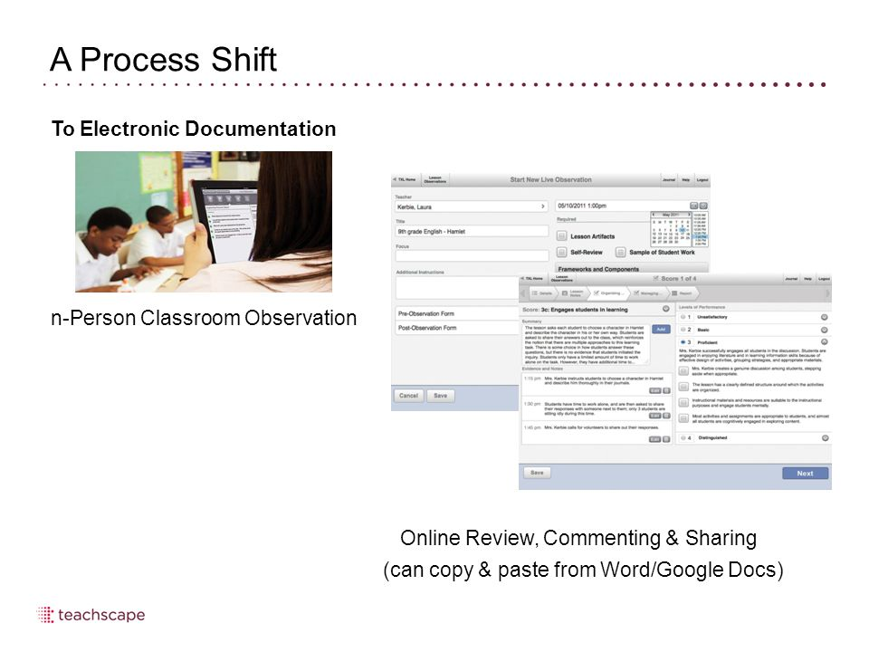 Completing the Post-Observation Process Click the title bar to view the list of steps in each section 34