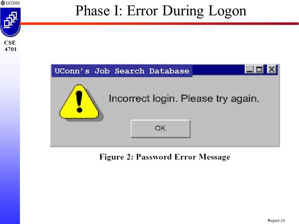 CSE 4701 Project-24 UConn's Job Search Database Phase I: Error During Logon