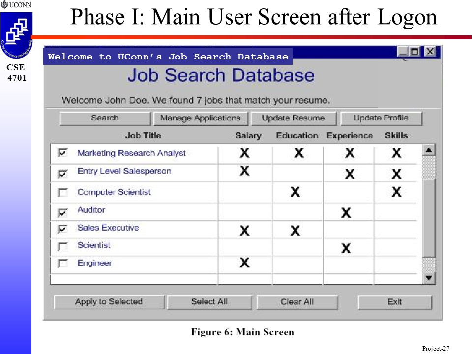 CSE 4701 Project-27 Welcome to UConn's Job Search Database Phase I: Main User Screen after Logon