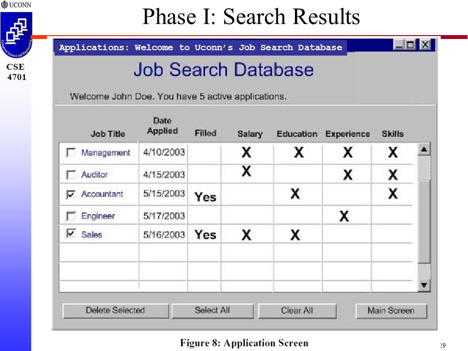 CSE 4701 Project-29 Applications: Welcome to Uconn's Job Search Database Phase I: Search Results