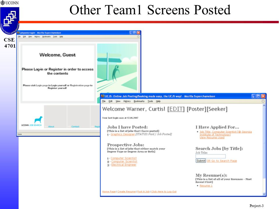 CSE 4701 Project-3 Other Team1 Screens Posted