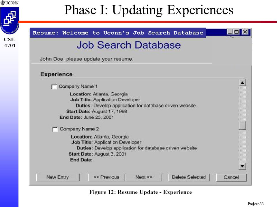 CSE 4701 Project-33 Resume: Welcome to Uconn's Job Search Database Phase I: Updating Experiences